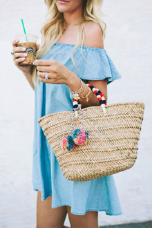 DENIM RUFFLE DRESS, LMjewelry