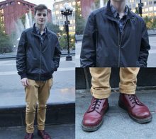 Gloomy Days and Boys with Accents, casual, colored pants, sports jacket, Dr. Martens, plaid, yellow pants, corduroy pants