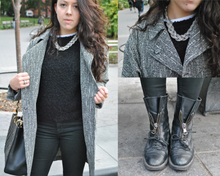 Textured Blacks and Grays, black, gray, textured, fuzzy, coated denim, looks like leather, leather, zippers, winter, fall