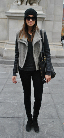 Textured Gray, black jeans, beanie, two-tone jackets, boots, back to black, moto jacket, textured jacket, fall