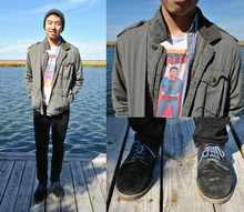Untitled, denim, oxfords, surplus jacket, military jacket, beanie, superman, graphic tee, blue details