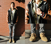 Camouflaged in the Details, layers, fall, bomber jacket, oxfords, camo, men,