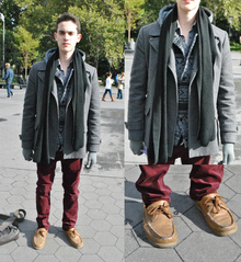 Pop of Burgundy, maroon pants, burgundy, twillight, edward, patterned sweaters, sperry's, boat shoes, winter