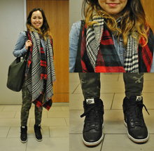 Layered , scarf, reversible, versatile, trend alert, camo, military, denim, chambray, sneaker wedges, plaid, fall, autumn, layers