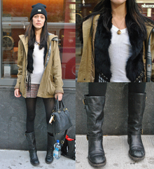 The Messy Look , layers, fall, beanie, supreme beanie, fur vest, fringe, riding boots, surplus jackets, cargo jackets, casual