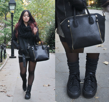 Back to Black , black, leather, leather jacket, platform sneakers, stockings, layers, fall, infinity scarf, cable knit scarf, ankle socks