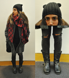 Trend Alert: Animal Ears and Plaid , destroyed jeans, distressed, animal ear beanie, plaid, black, gray, boots, winter, fall,