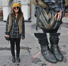Casual in Plaid , plaid, fall, transition, beanie, yellow, leather, casual, fur