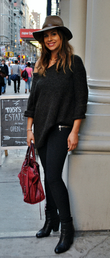 Head to Toe: Intermix, intermix, western, red bag, booties, fall, off-the-shoulder sweater, comfy, casual, fall