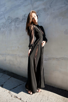 express edition, winter dress, black lace maxi dress