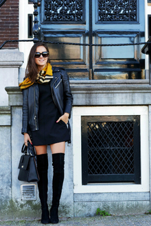 BURBERRY SCARF BAR, fall scarf, leather jacket, over knee high boots