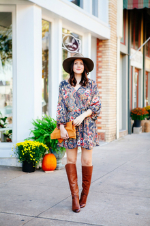DOWNTOWN, knee high boots, fedora hat, clutch