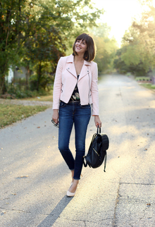 Fall Floral, leather jacket, pink jacket