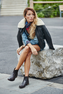 Modern Trails, leather jacket, ankle boots