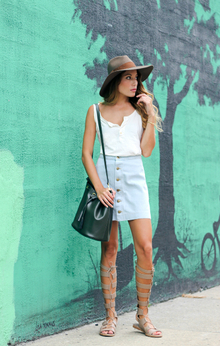 A-Lined, bucket bag, button down skirt, gladiator