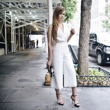 Today's look for the @wmag It Girls Lunch event, NYFWSS16, white suit, jumpsuit, culottes, Fashion week