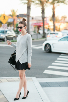 NEW SUNNIES, oversized sweater, fringe skirt, pump, wrap sweater