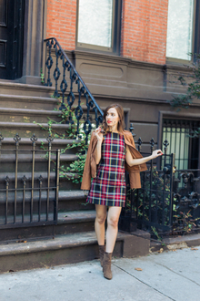 MODERN PLAID , plaid, ankle boots, leather jacket