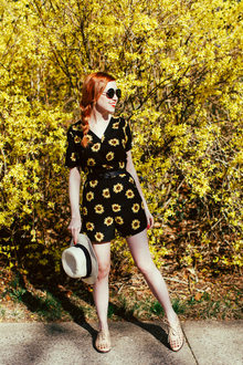 Outfit: Sunflower, romper, floral, playsuit, LMromper