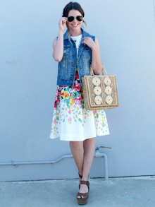Floral Dress With Denim Vest, summer, dress, floral, denim, vest, wedges, vintage, LMsandals