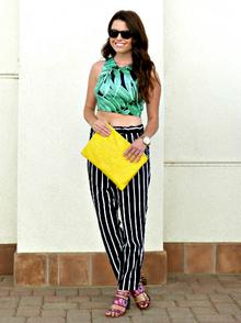 Going Bold, leaf print, stripes, crop top, harem pant, floral, colorful, summer