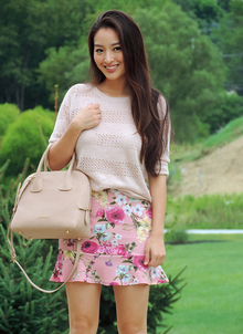 The Floral Mini, florals, miniskirts, beige, #BACKTOSCHOOL #Back to school