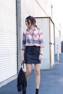 Plaid + Leather, Plaid Shirt, Leather Skirt, Black Booties, Fringe Bag