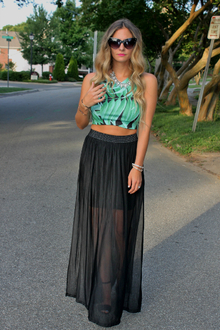 "LookMazing ""Who Wore It Best"" Contest Entry, Topshop, Crop Top, Leaf Print, Palm tree Print, Sheer Maxi Skirt"