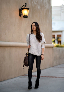 SOFT SWEATERS, oversized sweater, skinny jeans, ankle boots